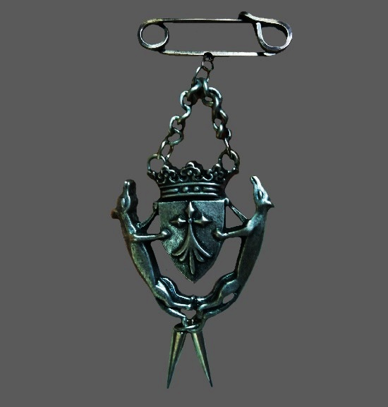 Heraldic Shield silver tone brooch