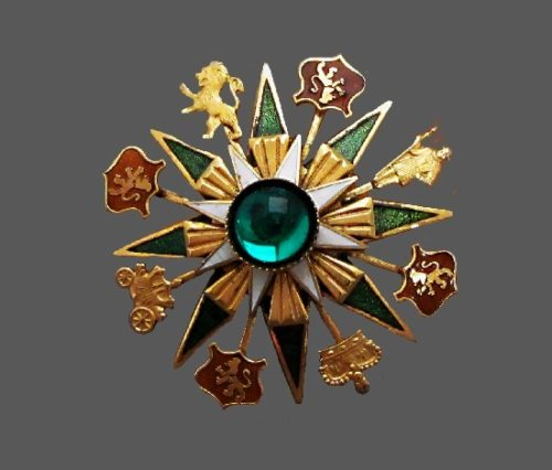 Heraldic brooch with coats of arms and crowns. Gold tone metal alloy, enamel, crystal