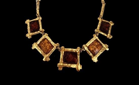 Honey color lucite golden squares necklace. 1980s