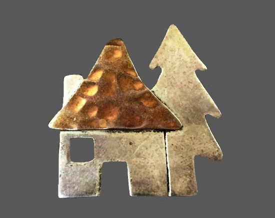 House and tree sterling silver copper brooch