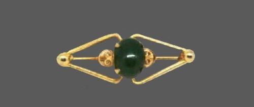 Jade 12 K gold filled pin. 1960s