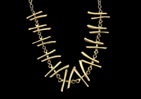Japanese Asian style stick gold tone necklace. 1990s