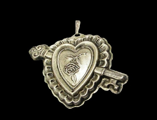 Key and heart with rose sterling silver pendant