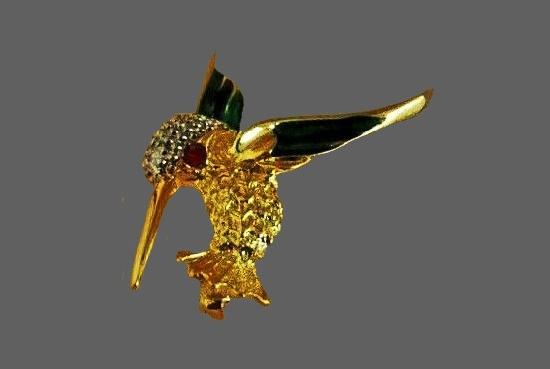 Kingfisher brooch. Gold plated metal alloy, enamel, rhinestones