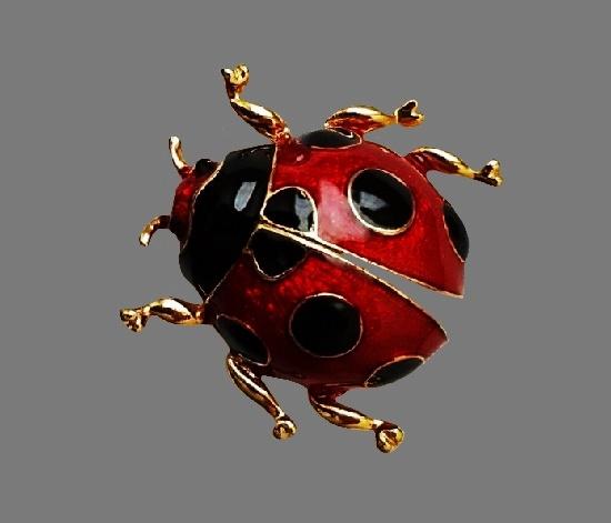 Lady Bug brooch. Gold tone, glitter red and black enamel