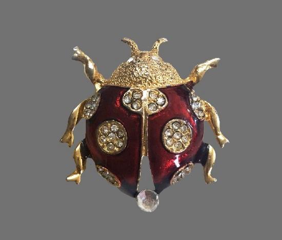 Lady Bug brooch. Red enamel, gold tone metal, rhinestones