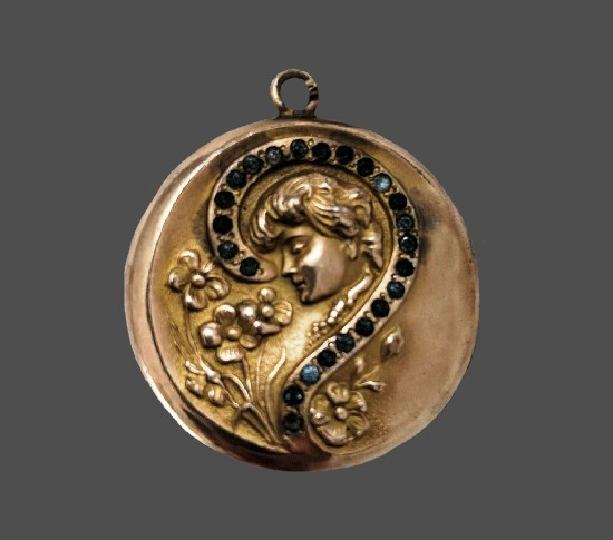 Lady with Question Mark Art Nouveau locket pendant. Gold filled, rhinestones. 1930s