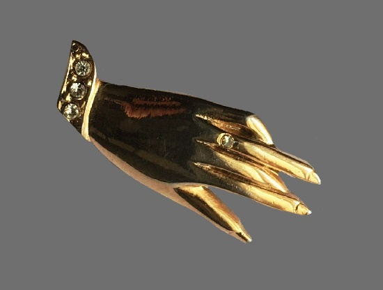 Lady's hand gold plated rhinestones brooch