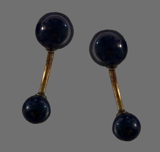 Lapis Lazuli 14 K gold filled cufflinks. 1960s