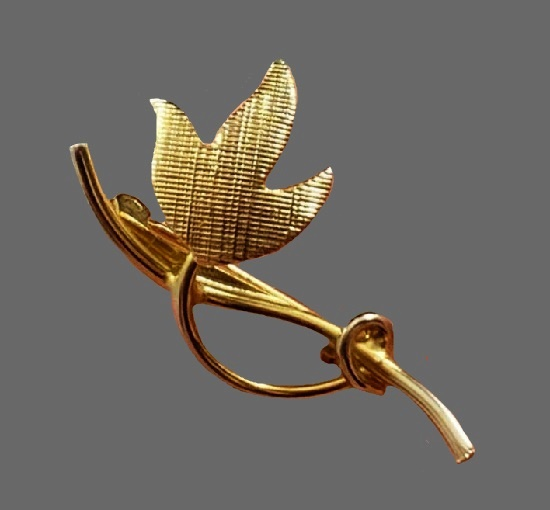 Leaf on steam 12k Gold filled brooch