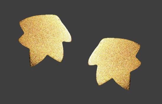 Leaf shaped matte gold tone earrings