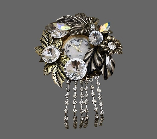 Leaves and flowers brooch with watch. Metal alloy, rhinestones. 1970s