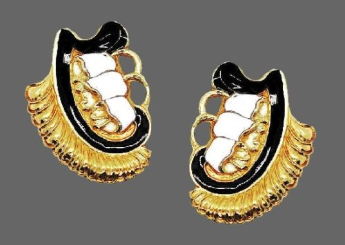 Lilies of the valley clip on earrings. Black and white enamel, sterling silver. 1960s