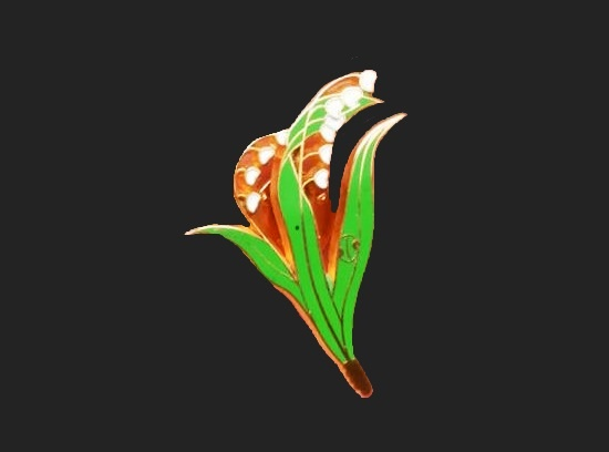 Lily-of-the-valley brooch. 1970s. Metal alloy, enamel, art glass. 3 cm. 1970s