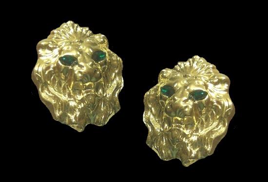 Lion head earrings. 14 K Gold plated, green rhinestones