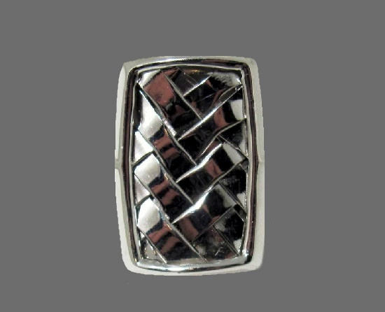 Long Woven Sterling Silver 925 Ring. 1990s
