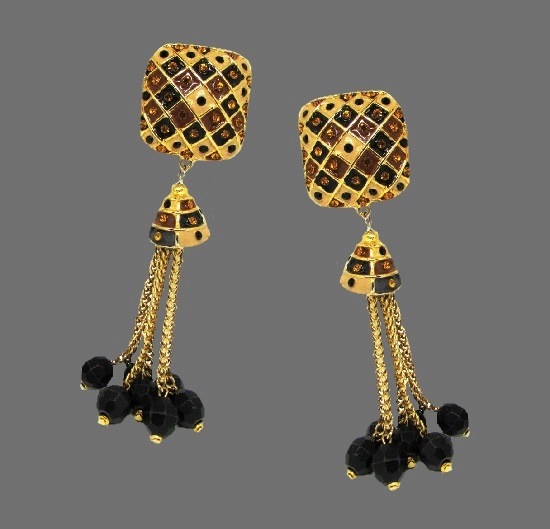 Long statement Earrings. Gold plated, enamel, rhinestones, bead tassel