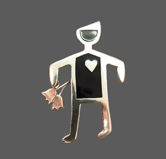 Man in love with flowers sterling silver enamel brooch