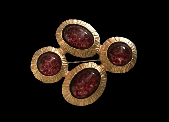 Marble tone glass cabochons gold tone vintage brooch. 1980s. 4.4 cm