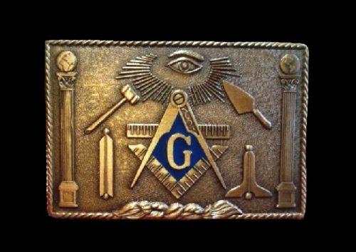 Masonic symbols belt buckle. Bronze tone metal, blue enamel. 1980s