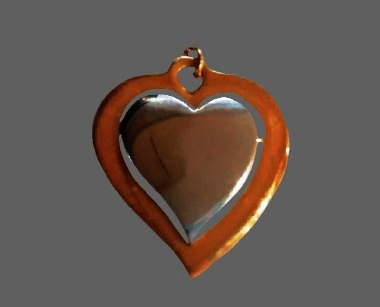 Mixed metals gold tone heart pendant