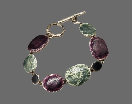 Modernist design bracelet. Sterling silver enamel