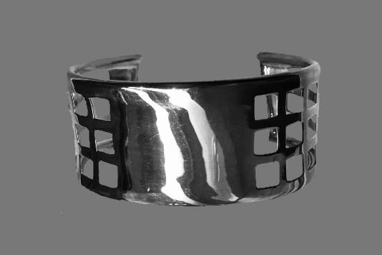 Modernist design sterling silver cuff bracelet