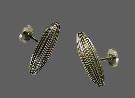 Modernist design sterling silver cufflinks
