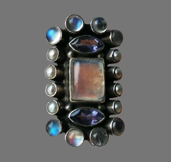 Moonstone pearl amethyst sterling silver ring. 1990s