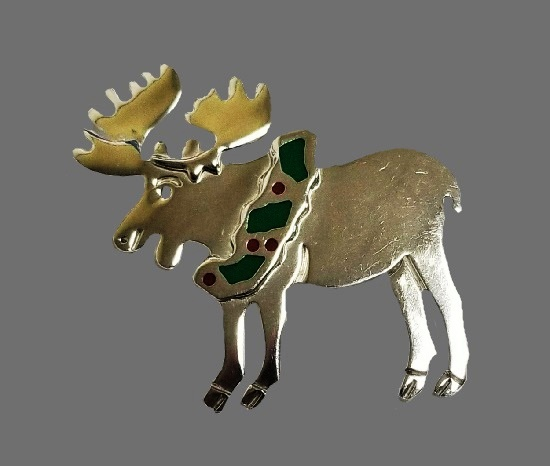 Moose sterling silver brooch