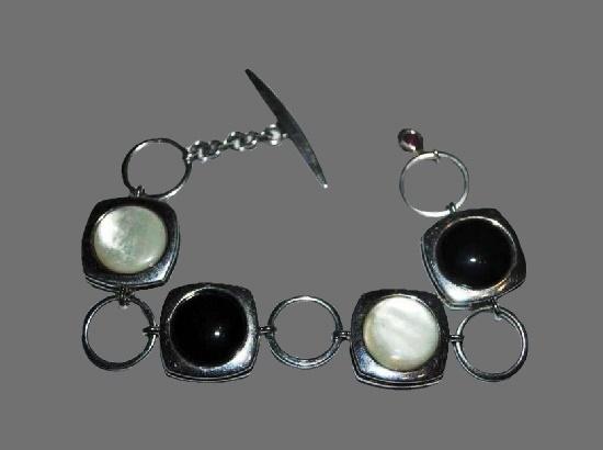 Mother of pear sterling silver art glass bracelet