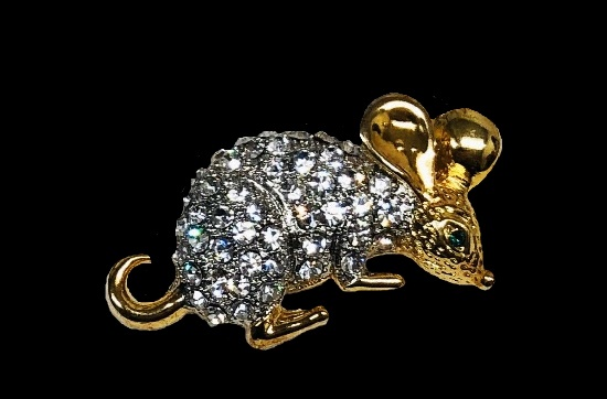 Mouse brooch of silver and gold tone, pave rhinestones