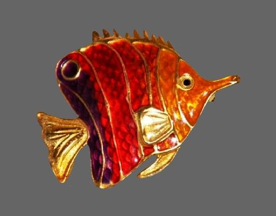 Multicolor enamel exotic fish brooch of gold tone, rhinestones