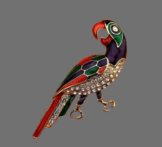 Multicolor enamel parrot brooch of gold tone, rhinestones