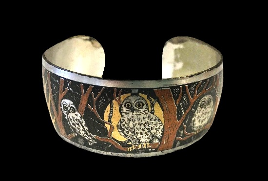 Night Owl cuff bracelet. Sterling silver, gold plated. Damascene collection