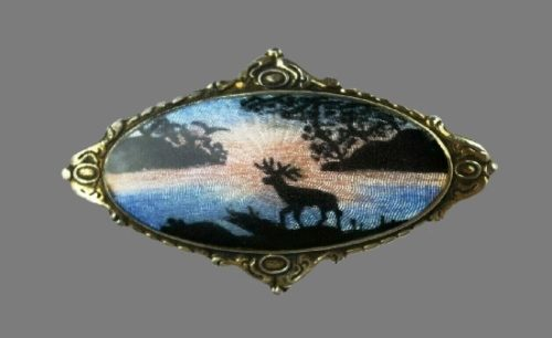 Night landscape with moss oval shaped brooch. 925 sterling silver, enamel