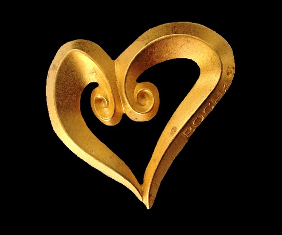 Open heart yellow gold tone pin signed on the front