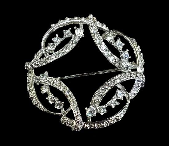Open work silver tone rhinestones wreath brooch