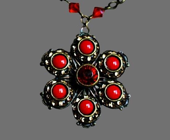 Orange flower pendant. Brass, art glass