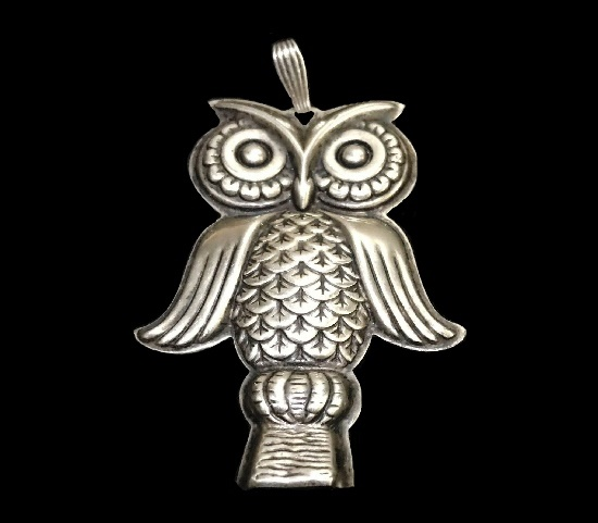 Owl Whistle sterling silver pendant