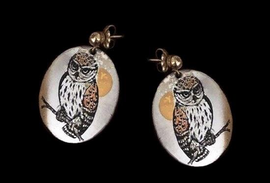 Owl earrings, Damascene collection