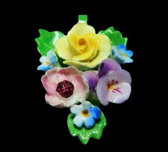 Pansy Anemone Rose Pendant. 4 cm