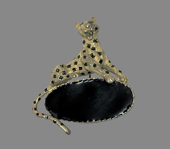 Panther enameled brooch