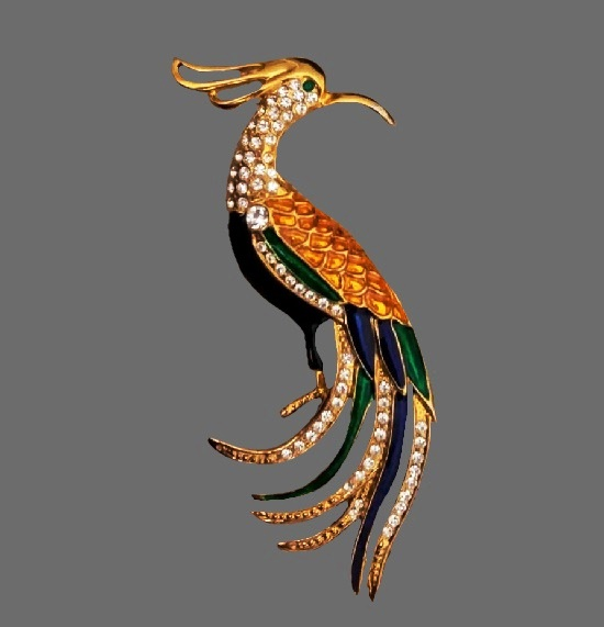 Paradise bird brooch. Gold tone metal, enamel, rhinestones. 9.5 cm. 1970s