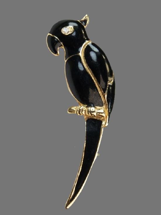 Parrot brooch. Gold tone alloy, black enamel, rhinestone. 5.7 cm. 1980s