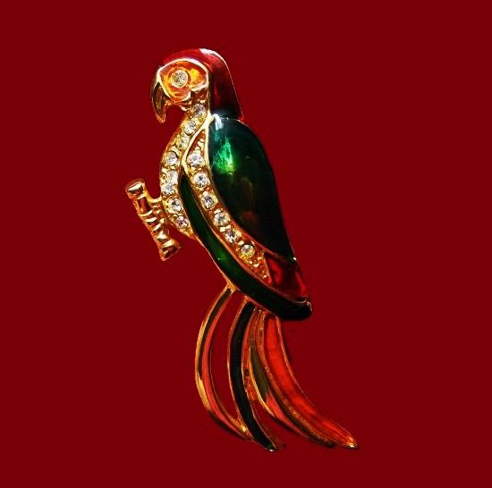 Parrot brooch. Gold tone metal alloy, enamel. 8.5 cm. 1970s