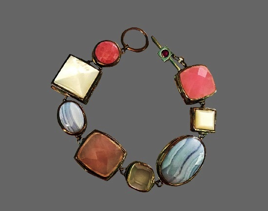 Pastel colored gemstones chalcedony, mother of pearl, rose and clear quartz and ruby sterling silver toggle Bracelet