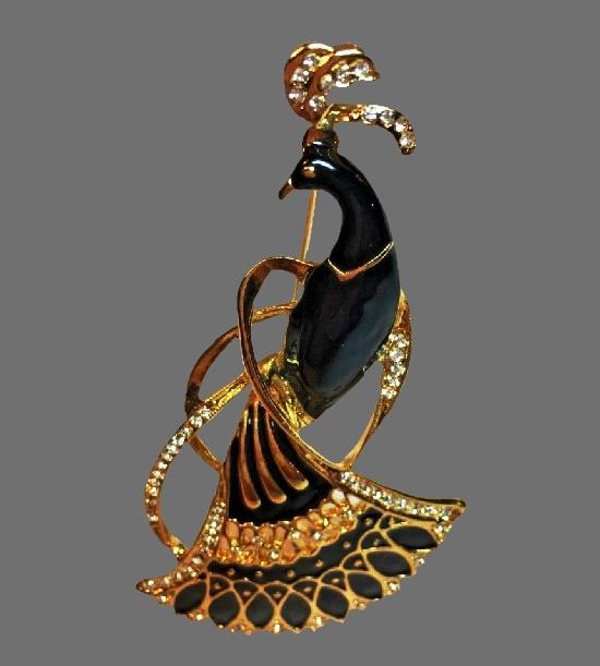 Peacock Figural Brooch Pin. Gold tone metal alloy, enamel, rhinestones