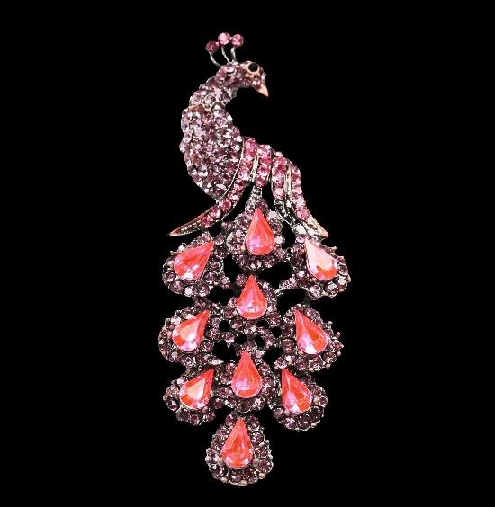 Peacock brooch. Silver tone metal alloy, enamel, pink and clear rhinestones. 9 cm