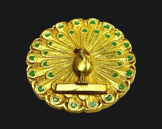 Peacock gold plated brooch